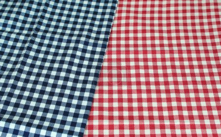 karierte Tischdecke rot und blau