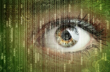 Foto de Ojo de mujer con concepto futurista datos digitales para la tecnología, realidad virtual - Imagen libre de derechos