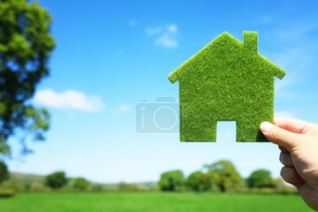 Photo for Green ecological house in empty field concept for construction and real estate - Royalty Free Image