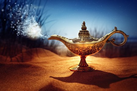 Magic lamp in the desert from the story of Aladdin...