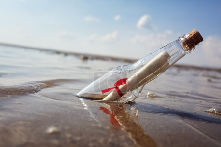 Message in a bottle washed up on a beach