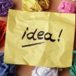Idea concept crumpled paper ball brainstorming for...
