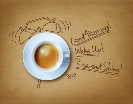 Photo for Good morning coffee and alarm clock concept - Royalty Free Image