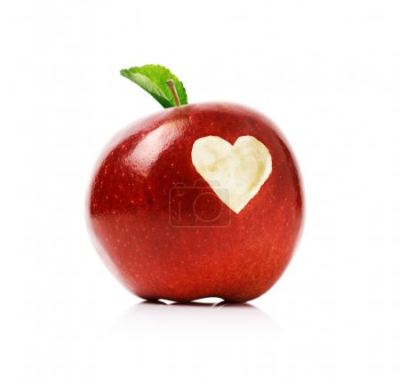 Red apple with heart symbol