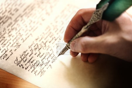 Writing with quill pen and testament