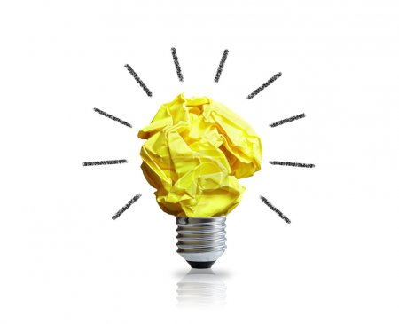 Photo for Inspiration concept with crumpled paper light bulb metaphor for good idea - Royalty Free Image
