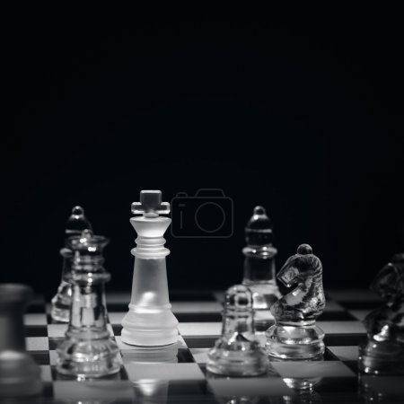 Photo for Chess game with checkmate concept for winning, business strategy, competition and success - Royalty Free Image