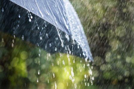 Photo pour Gouttes de pluie tombant sur le parapluie noir, mauvais temps - image libre de droit