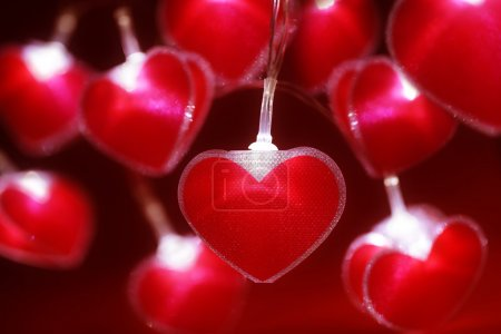 Photo for Red heart fairy lights valentine's day background or abstract love, dating and romance concept - Royalty Free Image