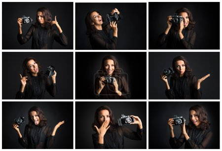 Collage of  woman expressing different emotions with camera