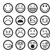 Smiley flat icons Black