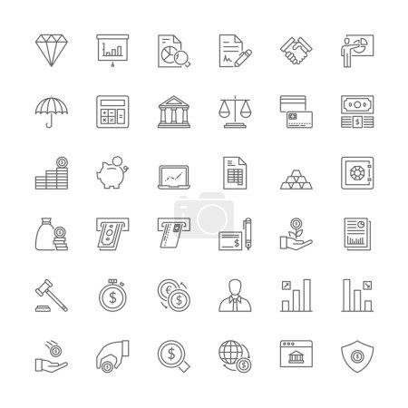 Illustration pour Icônes de ligne mince ensemble. Symboles plats sur les finances - image libre de droit