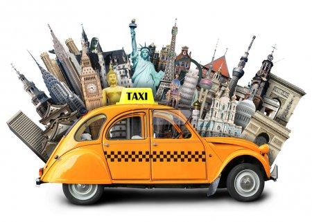 Photo pour Taxi rétro sur le fond de monuments, Voyage - image libre de droit