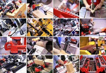 Photo for Industrial collage plant equipment and construction tools - Royalty Free Image