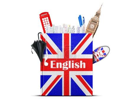 Photo pour Manuel de la langue anglaise avec le drapeau britannique et parasol - image libre de droit