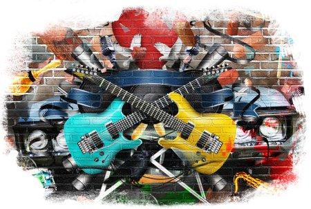 Photo pour Collage de la musique, couleur et fond musical lumineux - image libre de droit
