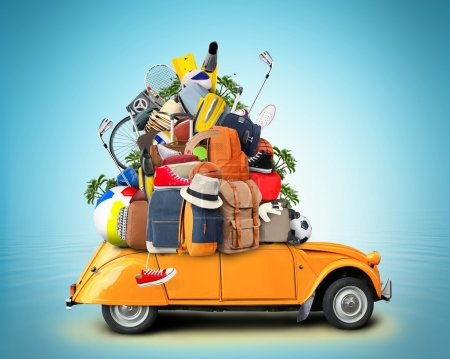 Photo for Vacation and travel, a huge pile of things for the holiday - Royalty Free Image