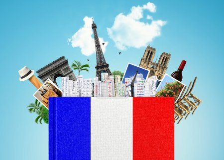 Photo for French language, the book with the French flag and bookmarks - Royalty Free Image