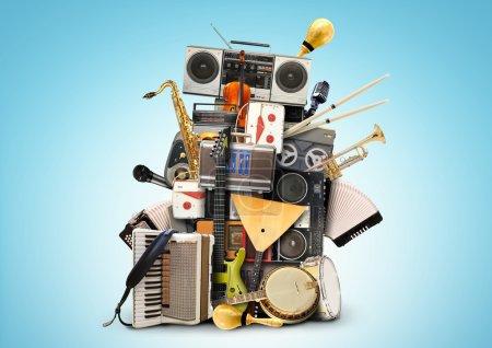 Photo pour Musique, instruments de musique et magnétophones vintage - image libre de droit