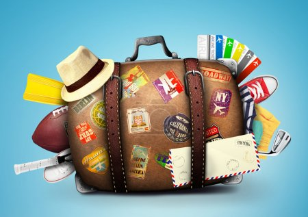 Photo for Full suitcase of a traveler with travel stickers - Royalty Free Image