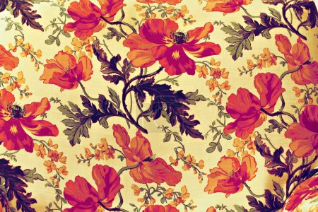 Photo for Fragment of colorful retro tapestry textile pattern with floral ornament useful as background - Royalty Free Image