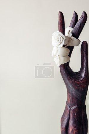 Foto de Mano de madera con anillos blancos como una rosas sobre fondo blanco - Imagen libre de derechos
