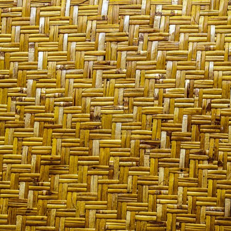 Photo for Handcraft weave texture background natural yellow wicker - Royalty Free Image