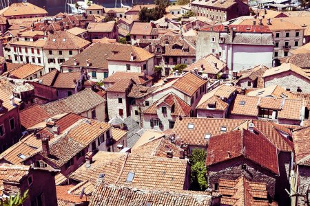 Photo for Old Town Kotor. Kotor rooftops of the old town. Old town of Kotor and Boka Kotorska bay in Montenegro - Royalty Free Image