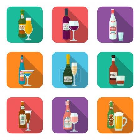 Illustration pour Flacons et verres plats en alcool avec des icônes d'ombre - image libre de droit