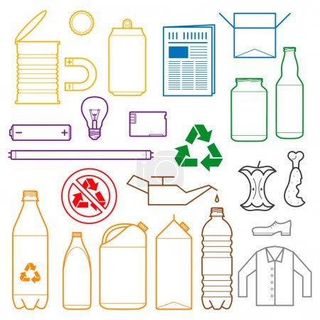 Color separated waste outlines icons