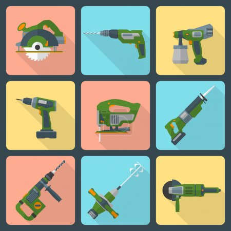 Flat house remodel power tools icons