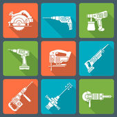 Flat design white silhouette house remodel power tools icons