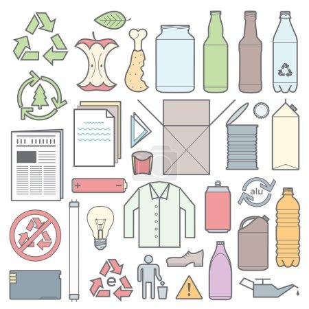 Photo pour Icônes et signes vectoriels pour la collecte séparée des déchets - image libre de droit