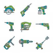 Color outline house remodel power tools icons