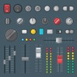 Vector various colored flat design buttons switche...
