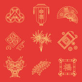 Vector gold yellow outline on red traditional chinese new year icons set feng shui coins lantern fans dragon mask fireworks firecrackers bamboo frame fortune cookies red envelope coin