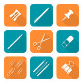 Vector white color flat design various stationery icons set long shado