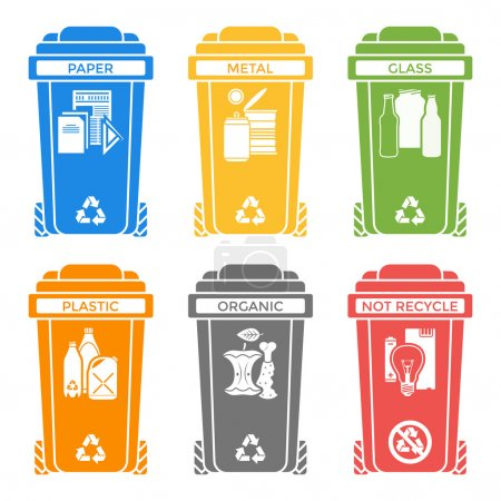various colors separated garbage bins solid icons labels