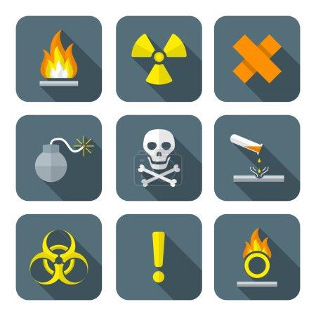 colorful flat style hazardous waste symbols warning signs icons