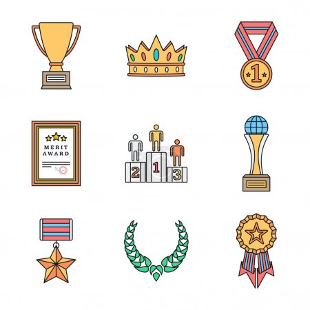colored outline various awards symbols icons collectio