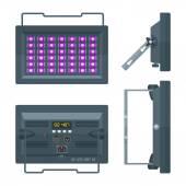 LED ultraviolet blacklight professional stage projector lightning colored flat illustration white backgroun
