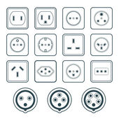 monochrome color contour home industrial power socket types icon