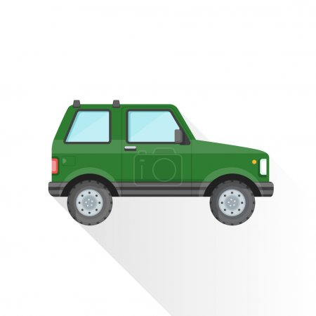 Illustration for Vector green color flat design sport utility body type vehicle illustration isolated white background long shado - Royalty Free Image