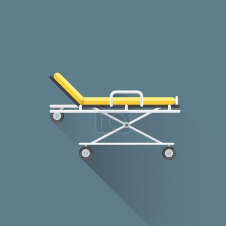 vector flat medical stretcher on wheels illustration ico