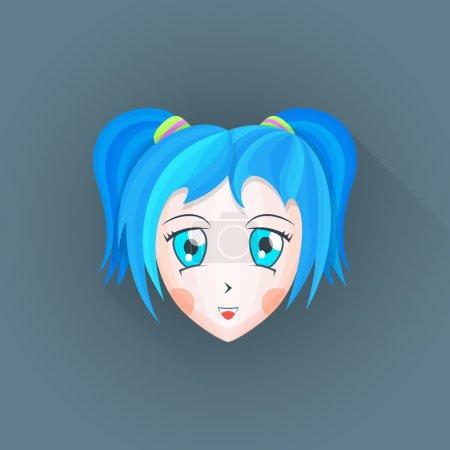 vector flat japanese cartoon manga girl head illustration ico