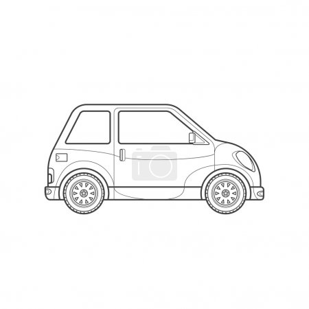 outline compact city car body style illustration ico