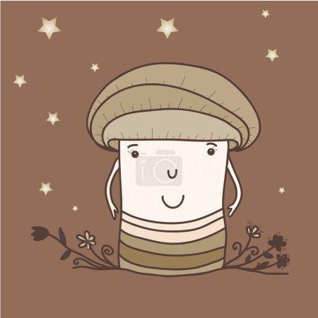 Illustration pour Champignon drôle, illustration vectorielle . - image libre de droit