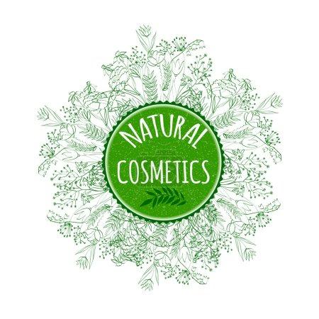 Illustration pour Étiquette pour produits cosmétiques naturels. Illustration vectorielle . - image libre de droit