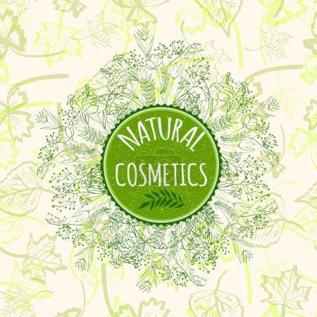Illustration pour Étiquette pour produits cosmétiques naturels. Badge de produit biologique sur fond transparent. Illustration vectorielle . - image libre de droit