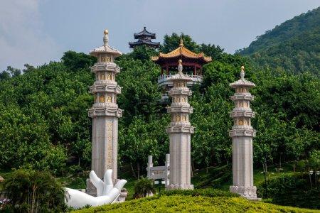 Sanya Nanshan Buddhist prayer flags column